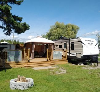 Trailer with gazebo and deck (main road)